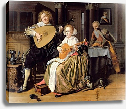 Постер Моленар Ян A Young Man Playing a Theorbo and a Young Woman Playing a Cittern, c.1630-32