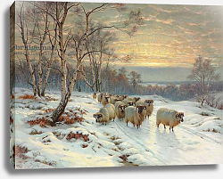 Постер Баркер Райт A Shepherd with his Flock in a Winter Landscape, 1919