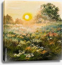Постер Восход солнца в поле