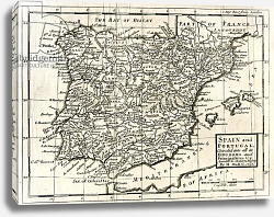 Постер 1731 Map of Spain and Portugal by Herman Moll