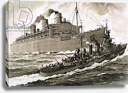 Постер Смит Джон 20в. The Queen Mary strikes the cruiser Curacoa