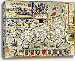 Постер Спид Джон Map of Cornwall from the 'Theatre of the Empire of Great Britain', pub. 1627