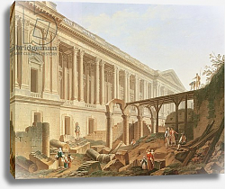 Постер Демаки Пьер Demolition of the Hotel de Bourbon and clearing the Louvre Colonnade, c.1764