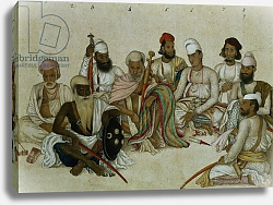 Постер Школа: Индийская 19в. Nine courtiers and servants of the Raja Patiala, c.1817