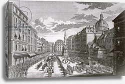 Постер Клейнер Саломон (грав) View of a procession in the Graben engraved by Georg-Daniel Heumann
