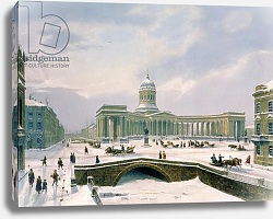 Постер Арнаут Луи (акв) Kazan Cathedral, St. Petersburg, printed by Lemercier, Paris, 1840s