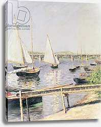 Постер Кайботт Гюстав (Gustave Caillebotte) Sailing boats at Argenteuil, c.1888