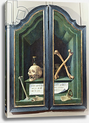 Постер Школа: Фламандская 16в. Vanitas, reverse of two panels from a triptych