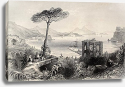 Постер Naples bay, Italy. Original, created by W. H. Bartlett and and T. A. Prior,  published in Florence,
