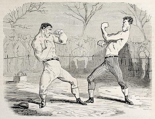 Boxing match. Original, from drawing of Benassis and Darjou, published on L'Illustration, Journal Un