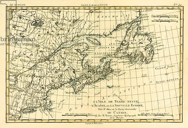 Eastern Canada, Newfoundland, Nova Scotia and St John Island, 1780