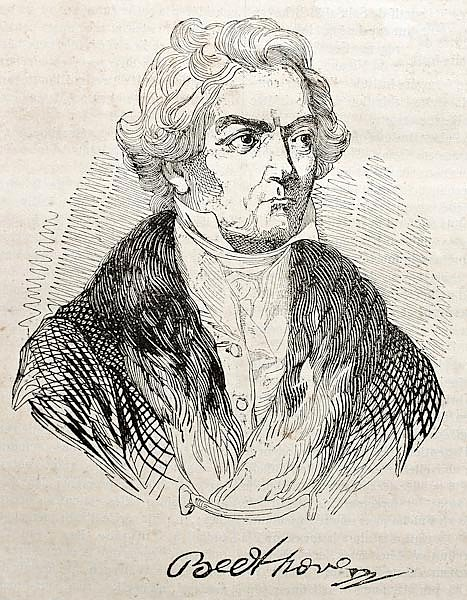 Ludwig van Beethoven old engraved portrait and autograph. Published on Magasin Pittoresque, Paris, 1