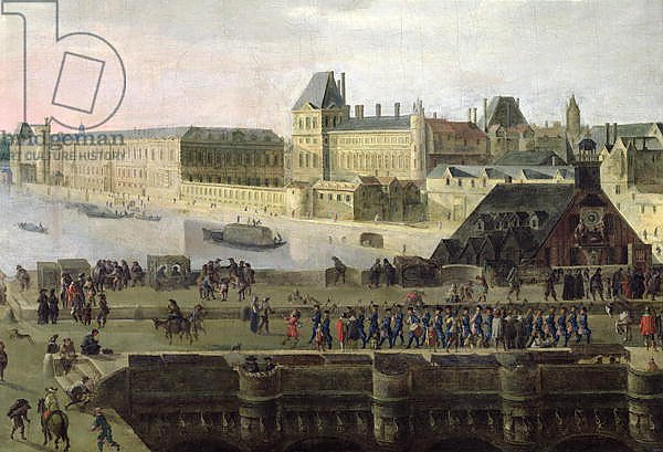 View of the Pont-Neuf and the River Seine looking downstream, detail, c.1633