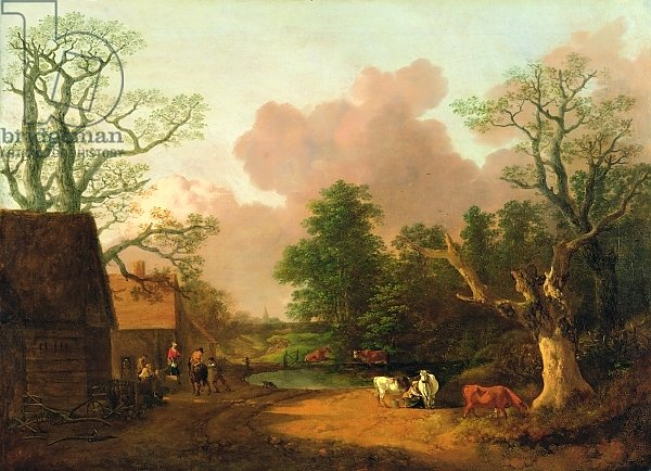 A Landscape with Figures, Farm Buildings and a Milkmaid, c.1754-6