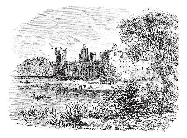 Ruins of Linlithgow Palace, West Lothian, Scotland, vintage engraving