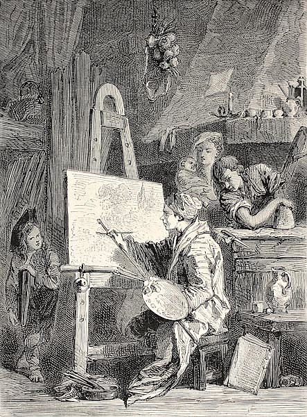 Painter workshop. Engraved by Dutheil-Ecosse, after tablet of Boucher in Khalil-Bey gallery. Publish