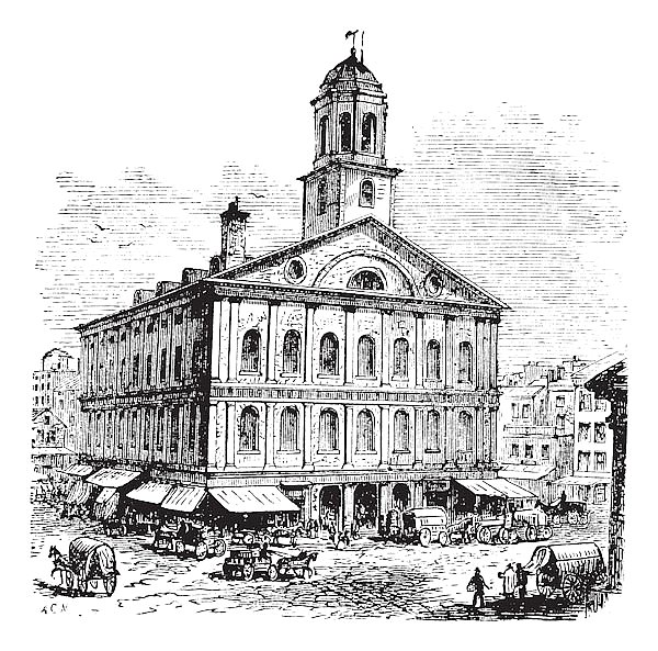 Faneuil Hall or The Cradle of Liberty, Boston, Massachusetts, USA vintage engraving
