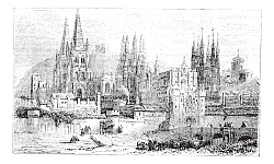 Постер Burgos, city, Spain, vintage engraving.