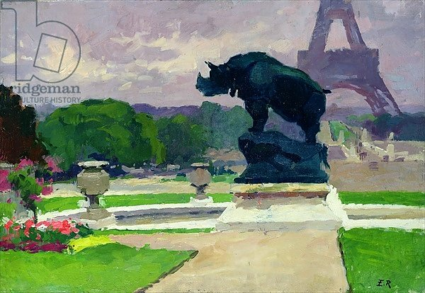 The Trocadero Gardens and the Rhinoceros by Jacquemart