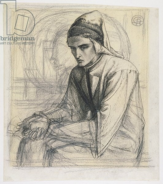 Dante in Meditation Holding a Pomegranate, c.1852