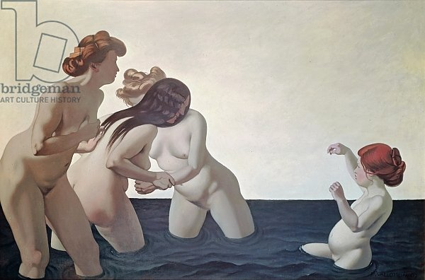 Three Women and a Young Girl Playing in the Water, 1907