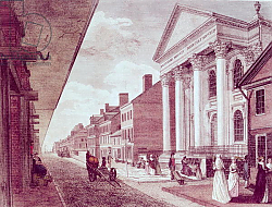 Постер Школа: Америка (18 в) High street with the first Presbyterian Church, Philadelphia, 1799