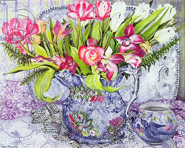 Pink and White Tulips, Orchids and Blue Antique China