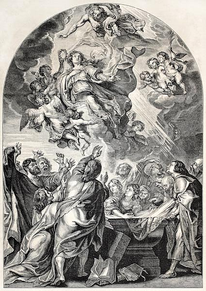 Reproduction of the Assumption of Mary, by Rubens. Engraved by Jourdain, published on L'Illustration