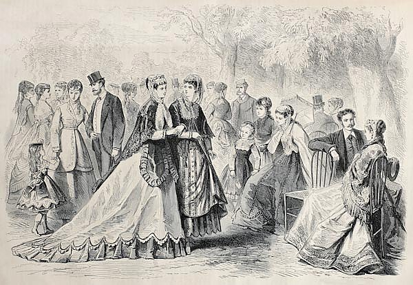 Springtime fashion 1868 in Paris. Original, created by Pauquet, published on L'Illustration, Journal