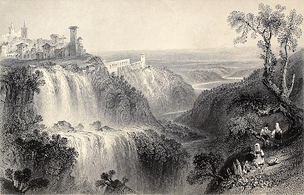 Tivoli waterfalls, near Rome, Italy. Original, created by W. H. Bartlett and E. Brandard, published