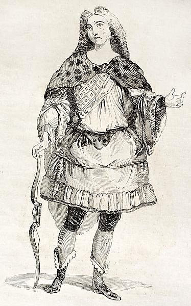 Man in costume old illustration. Published on Magasin Pittoresque, Paris, 1842