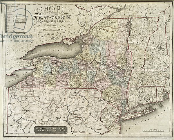 Map of the state of New-York and the surrounding country by David H. Burr, 1839
