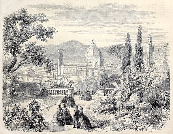Santa Maria del Fiore Basilica, in Florence, Italy. From drawing of Rouargue, published on L'Illustr