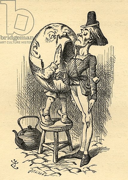 Humpty Dumpty, illustration from 'Through the Looking Glass' by Lewis Carroll first published 1871