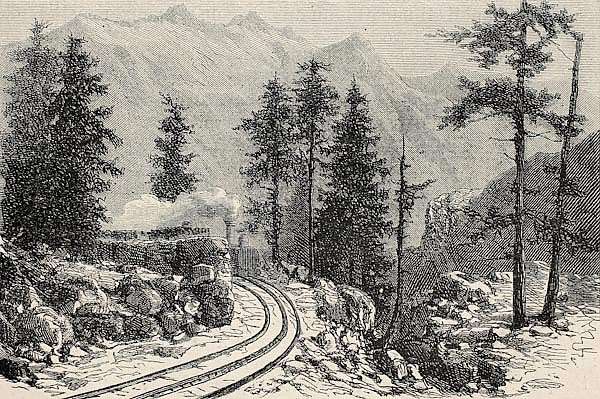 Mont Cenis railroad scenery. Created by De Bar, published on L'Illustration, Journal Universel, Pari