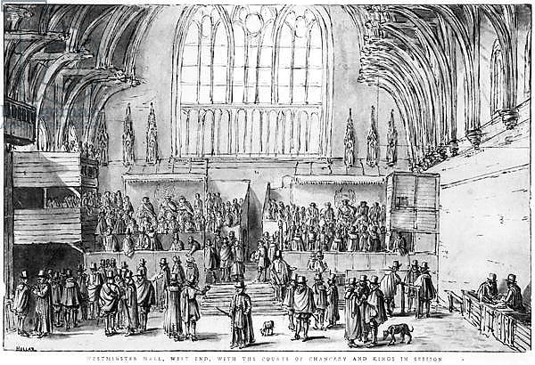 Westminster Hall, West End, with the Courts of Chancery and Kings in Session