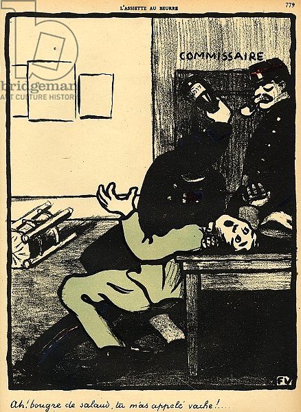 A policeman hits a man with a bottle in a police station, 1902