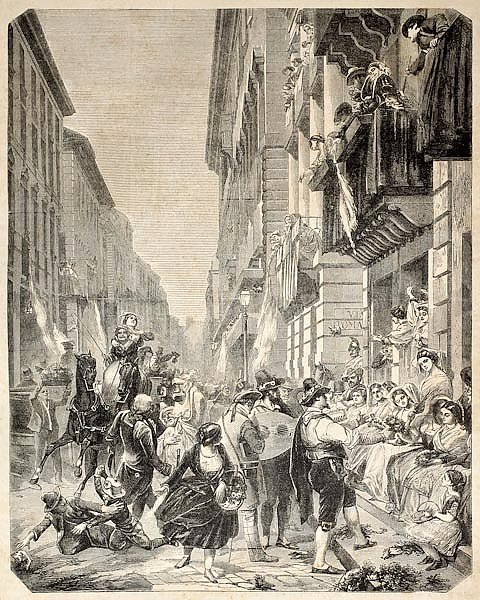 Carnival festivities in Rome. Original, from drawing of Godefroy and Durand, published on L'Illustra