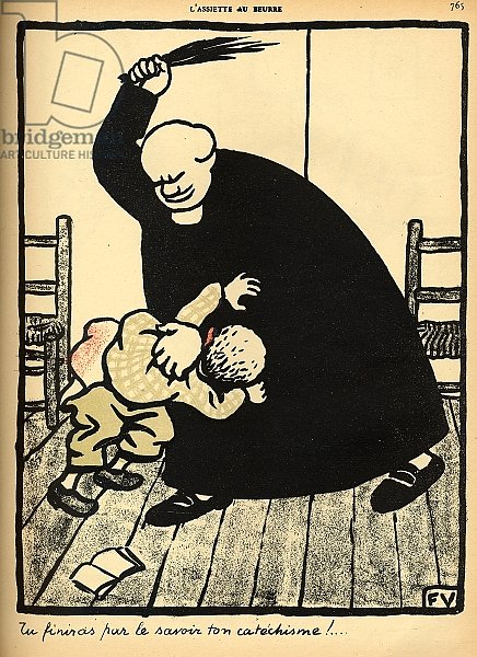 A priest beats a boy, from 'Crimes and Punishments', 1902