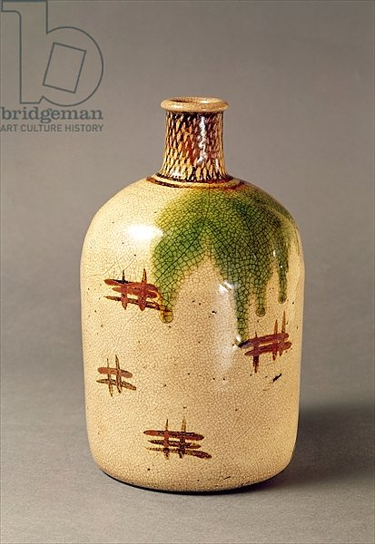 Sake bottle, from Oribe