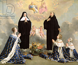 Постер Шампень Филипп Anne of Austria and her Children at Prayer with St. Benedict and St. Scholastica, 1646