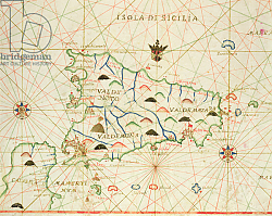 Постер Школа: Итальянская 17в. Sicily and the Straits of Messina, from a nautical atlas, 1646
