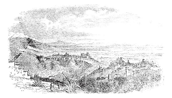 View of village at Granada, Andalusia, Spain vintage engraving