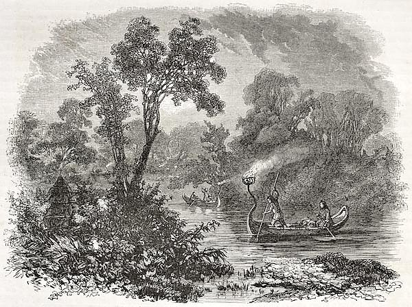 Americans torch light fishing, Ontario. Created by Sabatier after Kane, published on Le Tour du Mond