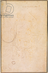 Постер Микеланджело (Michelangelo Buonarroti) Sketch of a figure with artist's signature