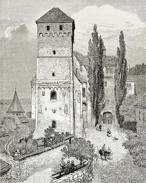 Nuremberg castle gate. Created by Gerard, published on Le Tour du Monde, Paris, 1864