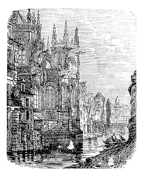 Church of Saint-Pierre, Caen, Normandy, France, vintage engraving.