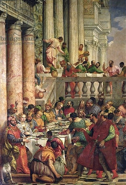 The Marriage Feast at Cana, detail of the left hand side, c.1562