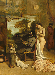 Постер Курбе Гюстав (Gustave Courbet) The Artist's Studio, a Real Allegory, detail of the painter and his model, 1854-55