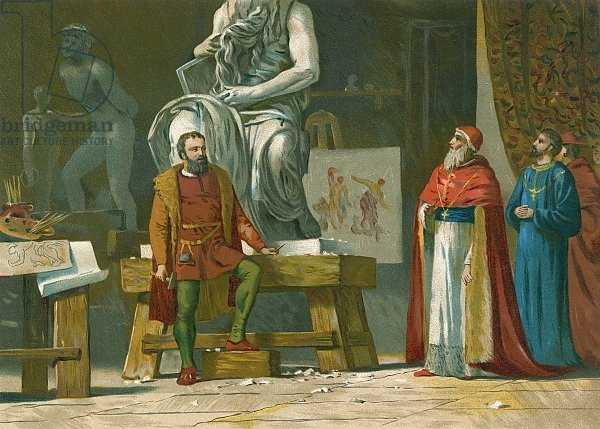 Pope Julius II visits the workshop of Michelangelo